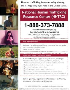 Hotline for reporting human trafficking. Includes quick texting code too.