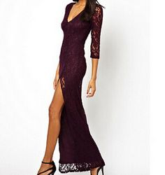 Fashion V-neck lace dress #102609AD