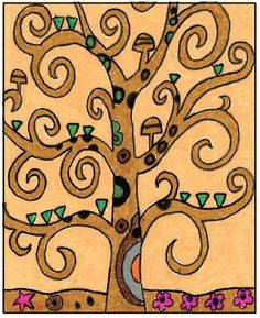How to Draw a Klimt Tree of Life · Art Projects for Kids Tree Of Life Painting, Tree Of Life Art, Tree Art, Klimt Art, Gustav Klimt, School Art Projects, Projects For Kids, Kindergarten Projects, Art Lessons For Kids
