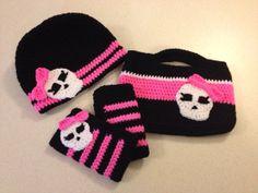 Monster High Inspired Hat, Purse, & Fingerless Gloves. Visit my Etsy site for info: KLovesCrochet