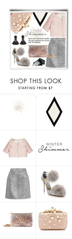"""Holiday Sparkle With The RealReal: Winter Pastels & Metallics"" by theabstractlife ❤ liked on Polyvore featuring Topshop, Valentino, Jimmy Choo, Chanel, Elie Saab and Gorgeous Cosmetics"
