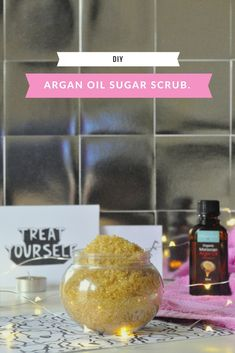 Arty's Getaway: Argan Oil Sugar Scrub DIY - It involves your skin and something about making it feel all kinds of amazing in a blink of an eye! Pop by for the diy! http://www.artysgetaway.com/thebasement/diy/argan-oil-sugar-scrub/