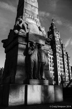 The Titanic Memorial & Liver Building, Liverpool, Lancashire, England. 30th December 2014.