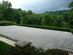 herringbone brick terrace and that view!