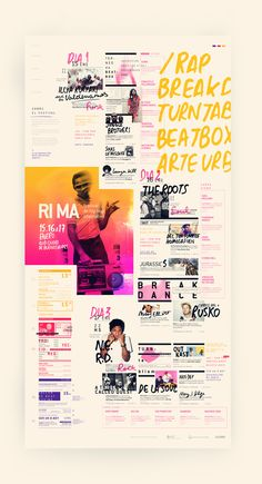 RIMA / Festival de hip hop alternativo by Federico Molinari, via Behance Not a real website but super cool layout