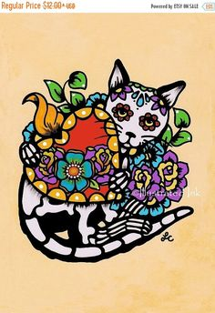 30% OFF SALE Day of the Dead CAT Tattoo Sacred by illustratedink