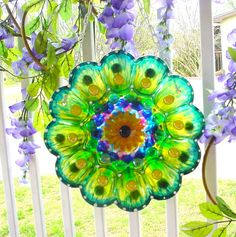 Glass Garden Plate Flower Yard Art Flower Glass by BuzyBeeBlooms