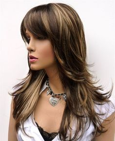 Hollywood // Long Brown Wig with Blonde Highlights Synthetic Hair , Super Soft Shiny and Layered with Bangs. $59.00, via Etsy.