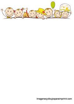 Folios con niños para imprimir-Imagenes y dibujos para imprimir Boarders And Frames, Framed Wallpaper, Page Borders, Borders For Paper, Stick Figures, Note Paper, Writing Paper, Happy Kids, Cartoon Drawings