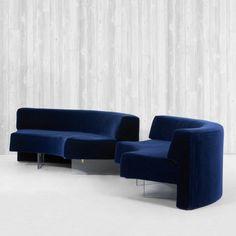 Vladimir Kagan  Omnibus sofas, pair        Vladimir Kagan Designs, Inc.USA, c. 1970  upholstery and foam over wood, acrylic 86 w x 39 d x 28 h inches s15