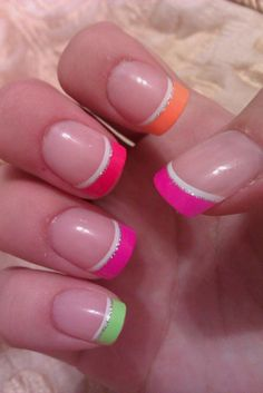 nails nails, french nails и wedding nails Manicure Colors, Nail Colors, Gel Manicures, French Nails, Colorful French Manicure, Colorful Nails, Bright Nails, Get Nails, How To Do Nails