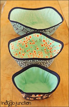 """Cool bowls keep hands safe when removing items from your microwave. Three sizes provide a perfect fit for all your kitchen dishes. Can also be used for decorative storage as well. Washable in 100% cotton. Diameters - SM: 6 1/2"""" ; Med: 9 1/2""""; LG: 12"""". NOTE: Must use 100% cotton supplies including bias binding to use safely in microwave. *This is a PDF ePattern with instructions only. It does not include materials. Our normal business hours are M-F 8:30-4:30CST. If you order..."""