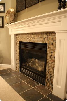 Love the glass tile on the fireplace and the wall color