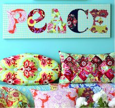PEACE wall art, free pattern by Amy Butler Design