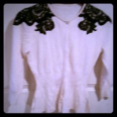 """Cardigan with black lace at shoulders Ribbed cardigan buttons covered by fabric flap nipped in waist. I know it was size small. Either ann taylor or banana republic unsure as tag kept popping over neckline. Worn once. I'd be happy to take offers or trade but don't know where to find the """"make offer"""" button Ann taylor?  Sweaters Cardigans"""