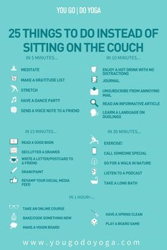25 things to do instead of sitting on the couch Vie Motivation, Morning Motivation, Health Motivation, Things To Do When Bored, Things To Do On A Rainy Day, Fun Things, Productive Things To Do, Self Care Activities, Babysitting Activities