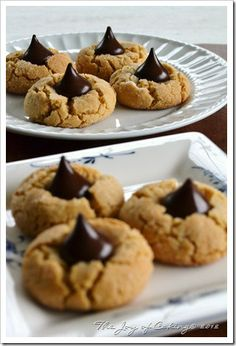 Dark Chocolate Kisses in Peanut Butter Blossoms