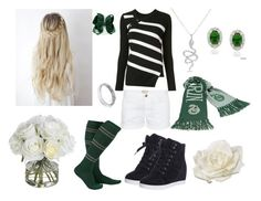 """""""Slytherin Pride: The Rogue Rose"""" by harrypotterstyledm ❤ liked on Polyvore featuring Current/Elliott, Proenza Schouler, Anne Sisteron, John Hardy, Dolce Giavonna, Diane James and Allstate Floral"""