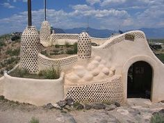 Earth ships in Taos, NM.  Earth ships are made with discarded tires, drink cans, glass bottles and earth.