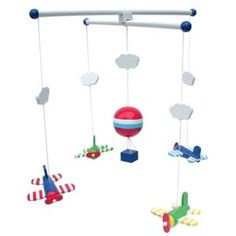 Aeroplane and Clouds Wooden Baby Mobile By Jabadabado