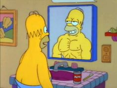 New trending GIF tagged the simpsons homer simpson mirror. Homer Simpson, Simpsons Characters, Struggle Is Real, Futurama, The Simpsons, Simpsons Cartoon, Going To The Gym, Funny Pictures, Drawings