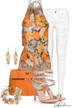 """""""White Ripped Skinny Jeans"""" by jafashions ❤ liked on Polyvore"""