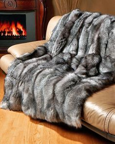 Silver Fox Fur Throw Beautiful