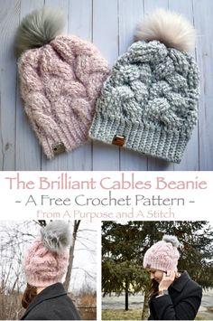 Beanie Pattern Free, Crochet Beanie Pattern, Slouchy Beanie Pattern, Crochet Slouchy Beanie, Crochet Cable, Crochet Hooks, Chunky Crochet Hat, Cable Knit Hat, Quick Crochet