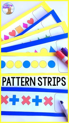 These pattern strips are great for your first or second grade math centers or morning tubs. The package comes with 18 colour pattern strips and a student recording sheet. The patterns have several attributes that change: shape, colour, direction and size. Math Literacy, Kindergarten Classroom, Classroom Activities, Teaching Math, Teaching Ideas, Subtraction Activities, Sorting Activities, Preschool Math, Classroom Ideas