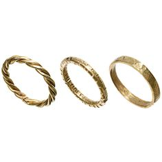 Made Set Of Three Stacking Rings ($14) ❤ liked on Polyvore featuring jewelry, rings, accessories, fillers, brass jewelry, stackable rings, made jewelry, brass ring and stacking rings jewelry