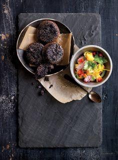 Black Rice Cakes and Mango Salsa