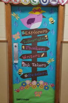 Class Door Decorations Spring Door Decoration - Your students will love these pop culture themed doo Door Decoration For Preschool, Class Door Decorations, Board Decoration, Class Decoration, Preschool Welcome Door, Kindergarten Door, Preschool Classroom, Classroom Themes, Holiday Classrooms