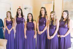 Interior Bridal Party Portrait, Bridesmaids in Sequin Floorlength Violet Purple Jasmine Dresses Sequin Bridesmaid, Wedding Bridesmaid Dresses, Prom Dresses, Formal Dresses, Temple Wedding, Ballroom Wedding, Wedding Day, Ballrooms, Jasmine