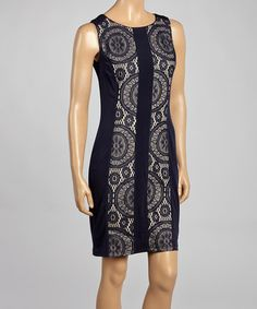 Look at this #zulilyfind! Navy & Champagne Geometric Scoop Neck Dress by Connected Apparel #zulilyfinds