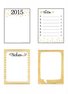 Free Printable 2015 Gold Notecards by DayPlanned