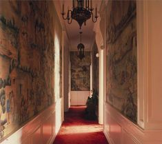 The entry hall  in the Manhattan apartment of the secretive Madame X Red. The World of Interiors, August 2017. silk carpet from Doris Leslie Blau