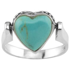 One ring, two great styles! This versatile heart-shaped ring has a vintage-look turquoise heart on one side, flip it over to reveal a sterling silver…