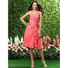 A-line Straps Knee-length Chiffon Bridesmaid Dress  – USD $ 97.99