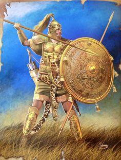 Paride, figlio di Priamo e amante di Elena. Qui raffigurato nel momento in cui si prepara a colpire Menelao, ma non avrà molto successo