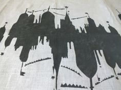 Linen Runner Black and White Collection Town of Celebration  Hand Printed