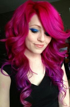 I would never do this color but I love the way she styled it. Lots of volume. Very cute