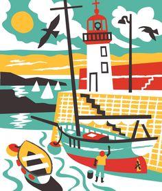 Erquay Harbour sailing boat illustration by Matt Johnson for Seasalt Cornwall Sailboat Art, Nautical Art, Seaside Art, Beach Art, Mouse Illustration, Digital Illustration, Graphic Illustration, Comfort And Joy, Graphic Design Typography