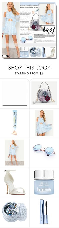 """""""SHEIN Silver Print Drawstring Front Cold Shoulder Dress"""" by fashiondiary5 ❤ liked on Polyvore featuring Too Faced Cosmetics, Dune, La Prairie, The Gypsy Shrine, Estée Lauder and shein"""