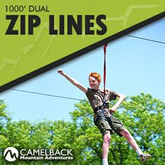 Come try the best heart-pounding Dual 1000' Zip Lines in the Pocono Mountains! Zip through and over the trees, 85 feet above the ground! #MyCamelback