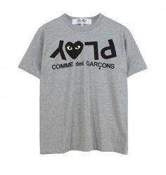 COMME DES GARÇONS PLAY UPSIDE DOWN PLAY T-SHIRT. Grey. £79.00