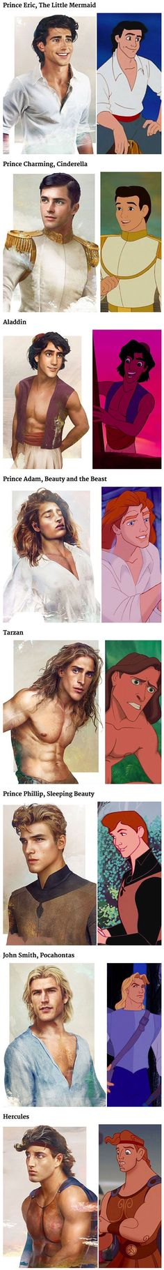 If you've ever wondered what Disney's princes might have looked like in real life, Jirka Väätäinen, a Finnish artist and designer in Melbourne, has answered that question definitively with his series of real-life Disney prince illustrations. Disney Pixar, Arte Disney, Disney Memes, Disney Quotes, Disney And Dreamworks, Disney Love, Disney Magic, Funny Disney, Disney Stuff