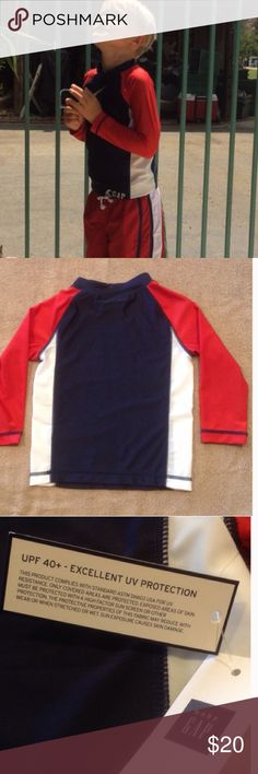 UPF Protection Rash Guard Swim Shirt This cute red white and blue rash guard provides UPF 40+ sun protection. Easy pull on style. Super comfy and stretchy. Gap Surf appliqué on the front. 12-18 mo fits 22-27 lbs. 2 years fits 30-33 lbs. 3 years fits 33-36 lbs. 4 years fits 36-40 lbs. 5 years fits 40-46 lbs. Gap Swim Rashguards