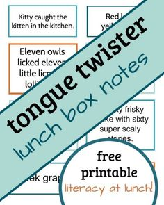Literacy at Lunch: Tongue Twister Lunch Box Notes - What Do We Do All Day?