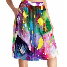 f3f0fc4dba3ec Women Fashion Watercolor Cat Painting Print High Waist Skirt With Pockets - Buy  Online in Oman
