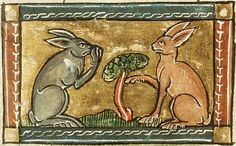 "According to Pliny the Elder (1st century CE) in his Natural History, Book 8, 81: ""The fertility of rabbits is enormous. By eating all the crops, rabbits brought famine to the Balearic Islands, to such extent that the people there petitioned Augustus to send troops to fight the beasts. Rabbits are hunted with ferrets."" In this scene there are two rabbits, one appearing to thumb his nose at the other. In the ""Naturen Bloeme"" by Jacob van Maerlant (Flanders, c. 1350). Koninklijke Bibliotheek"